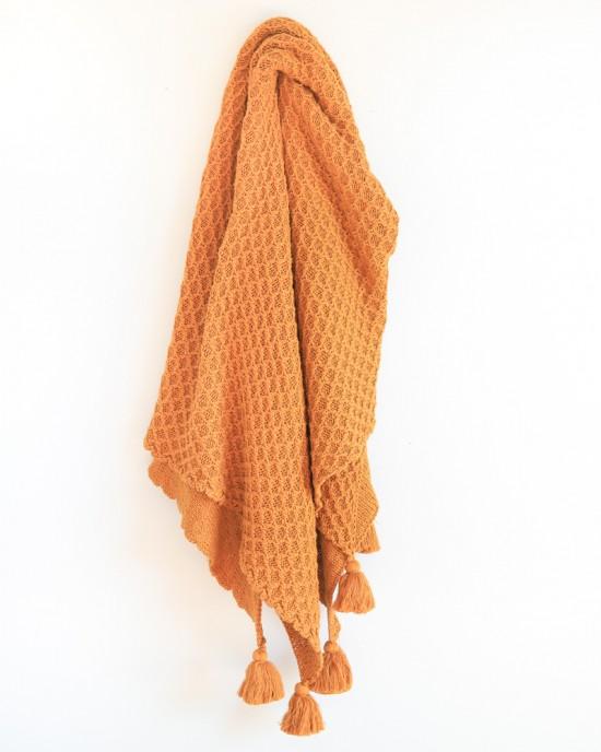 Bijou knitted throw Honeygold