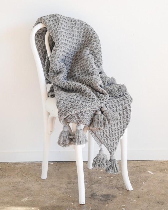 Bijou knitted throw Cloud Grey