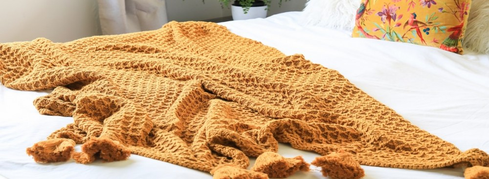 knitted throw mustard honeygold tassels